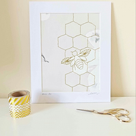 Hand Stitched Bee Wall Art, Bee Home Decor