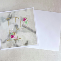 Alphabet Card, Initial P Card, Embroidered Letter Card, Personalised Card