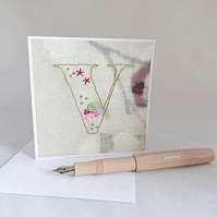 SALE Hand Stitched Alphabet Card, Initial V Card, Embroidered Letter Card