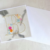 Alphabet Card, Initial B Card, Embroidered Letter Card, Personalised Card