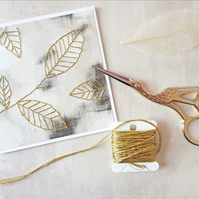 Gold Leaves Card, Embroidered Leaves Card, Get well Card