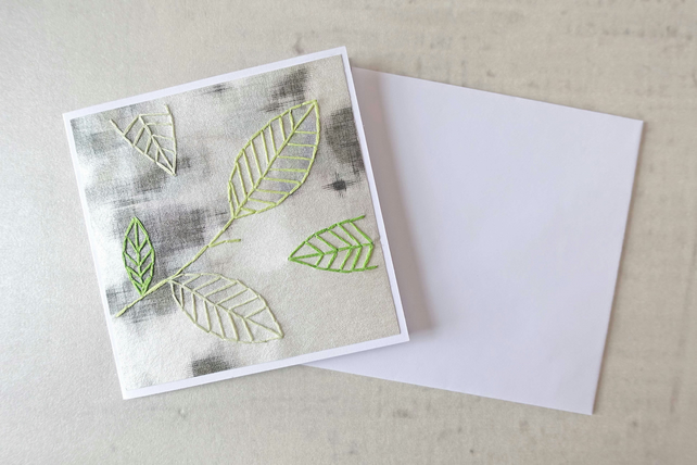 Embroidered Leaves Card, Autumn Leaves Card, Thank You Card