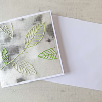 SALE Embroidered Leaves Card, Autumn Leaves Card, Thank You Card