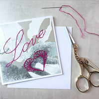 SALE Love Stitched Card, Love Wedding Card, Heart Love Card