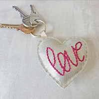 Love Keyring, Hand Stitched Keyring, Heart Key Charm, Faux Leather Keyring