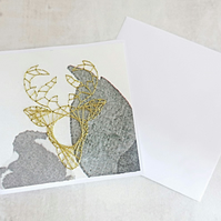 Gold Deer Card, Christmas Deer Card, Hand Stitched Card