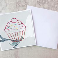 Cupcake Hand Stitched Card, Cupcake Birthday Card