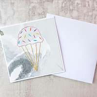 Ice Cream Birthday Card, Hand Stitched Ice Cream Card
