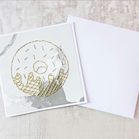 Gold Doughnut Card, Hand Stitched Doughnut Card