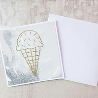Gold Ice Cream Card, Ice Cream Birthday Card