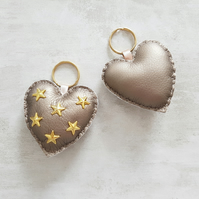 Heart Bag Charm, Star Studded Keyring, Faux Leather Heart Keyring