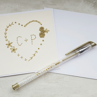 Gold stitched personalised Card, keepsake wedding card, heart engagement card