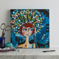 Original art, one of a kind, modern painting of girl and headdress