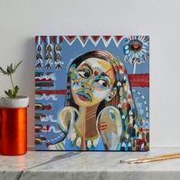 Original expressive modern blue ethnic abstract patterned painting of girl