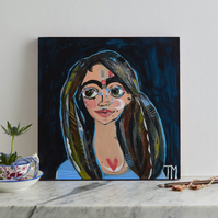Original modern expressive one of a kind portrait painting on dark blue