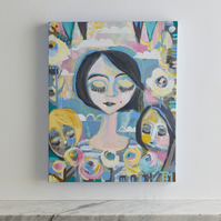 Original, modern, whimsical painting on motherhood