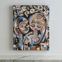 Original abstract modern painting of two figures