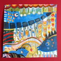 Quirky fun bright happy painting of ocean whale and fish under the sea