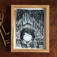 Original illustration of girl in Winter forest with house hand drawn in pencil