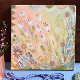 Painting of flowers, soft, gentle, pretty colours and abstract feel