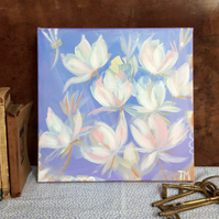 Pretty floral original painting on canvas of Spring flowers - Long Awaited