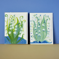 Original hand painted pretty floral greetings cards in bundle of 2