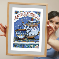 Print A4 of original illustration painting – Afternoon tea blue