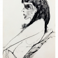 Giclee fine art print of original life drawing illustration - 'Thoughtful'