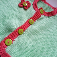 Baby Girl. Summer Cardigan. Spring Green & Shrimp