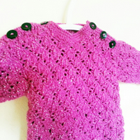 Baby Girl Jumper - Baby Knits - Sparkly Jumper- Baby Jumper
