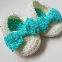 Baby Slippers - Turquoise Sole & Bow