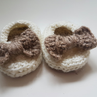 Baby Slippers - Brown Sole & Bow