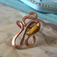 Hammered bare copper wire ring with wrapped Tigers Eye genuine gemstone