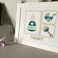 'Little poppet' personalised baby boy print