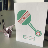 'Little Rattle' New baby card