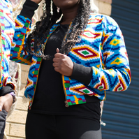 Fun and Colourful Jacket, African Print Jacket, Festival jacket with pockets
