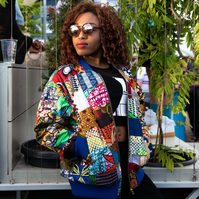 Bomber Jacket In African Patchwork, Colourful Festival Jacket In African Print