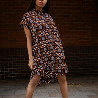 Handmade Dress Made With African Mud Cloth, Festival Dress in Beautiful Print
