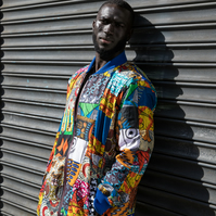 African Trench Coat, Handmade Coat in African Print, Colourful Winter Coat