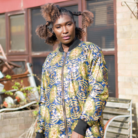 African Trench Coat, Gold Over Coat, Colourful Winter Coat