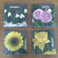 Hand painted slate coasters