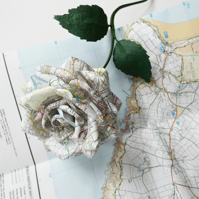 Map flower - map paper rose  - 1st anniversary gift idea
