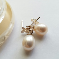 Freshwater Pearl Drop Earring on Sterling Silver Flower Stud