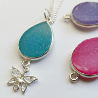 Sterling Silver druzy necklace with charm