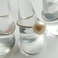 Sterling Silver & Large Freshwater Pearl Adjustable Ring
