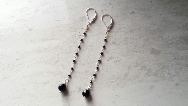 Long Drop Black Spinel & Onyx Earrings