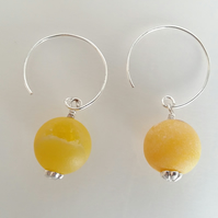 Yellow Drusy Quartz Earrings