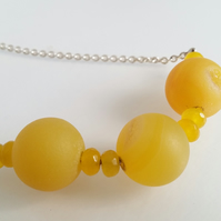 Yellow Drusy Quartz Necklace