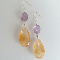 Citrine & Amethyst Earrings