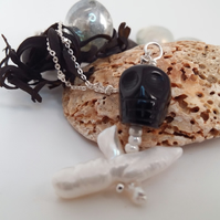Pearl and Onyx Skull & Crossbones Pendant